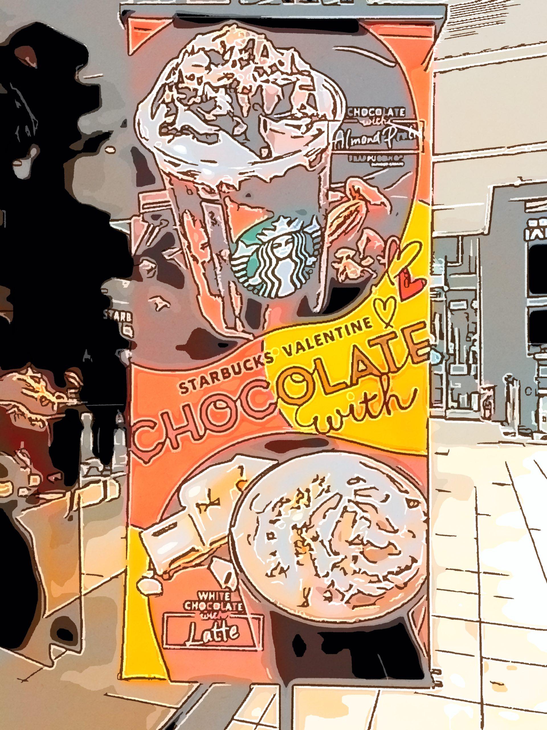 スターバックス コーヒー で チョコレート with パッション フルーツ フラペチーノ と チョコレート ムース with ラテ