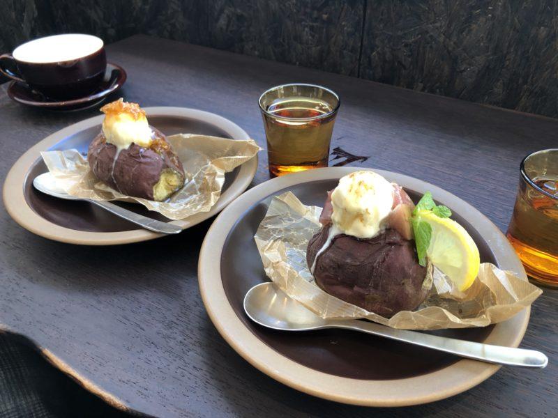 芋の巣 の コムハニーアイス焼き芋 と 季節のフルーツ焼き芋